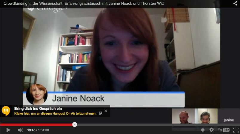 Crowdfunding in der Wissenschaft: Erfahrungsaustausch mit Janine Noack und Thorsten Witt per Livestream